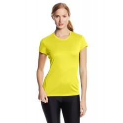 Camiseta ASICS mujer manga corta, color lima.